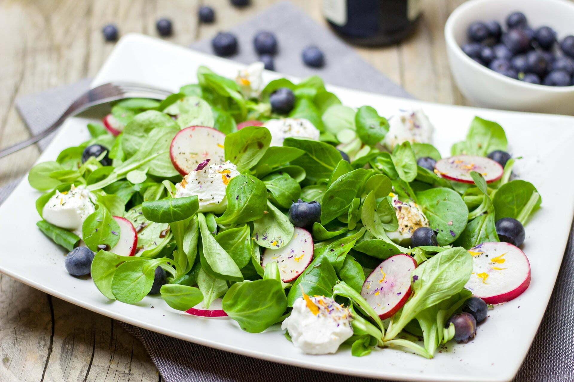 Nüsslisalat mit Mozzarella, Radieschen und Heidelbeeren